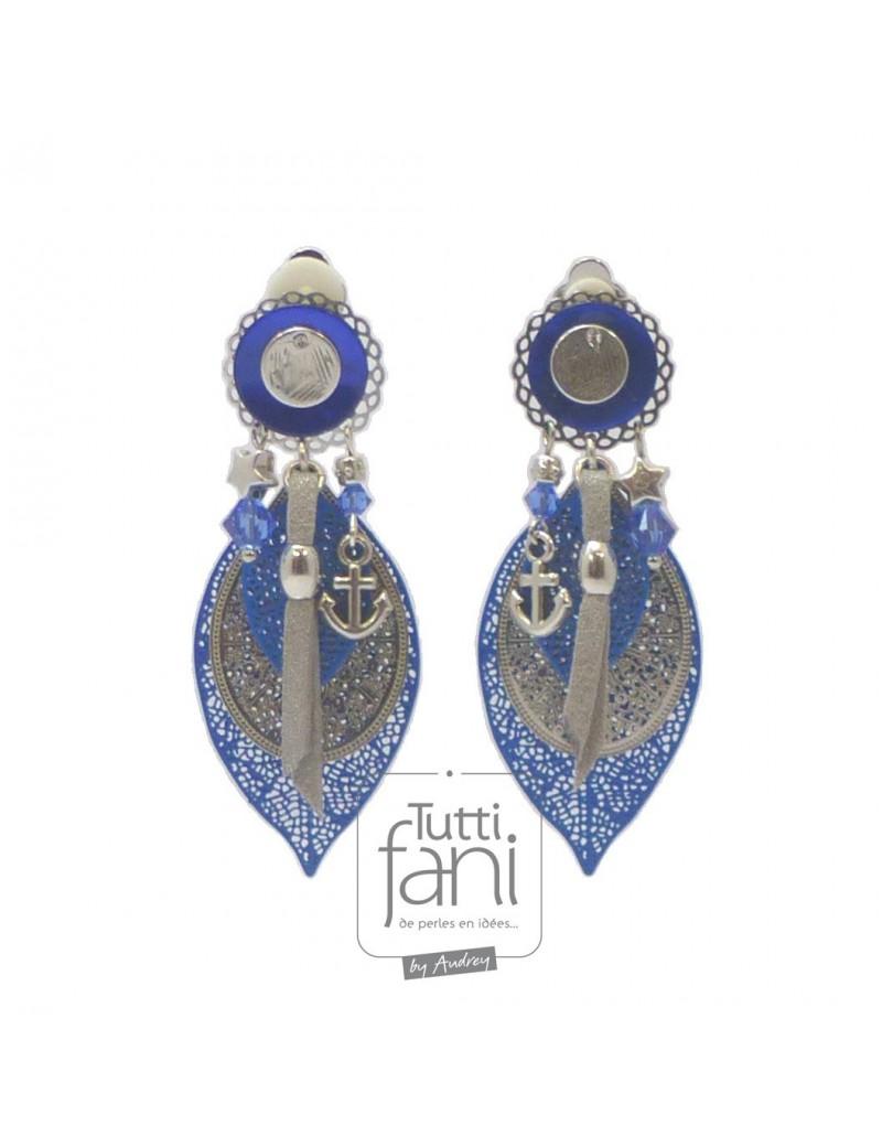 Boucles d'oreilles clips estampes bleu électrique