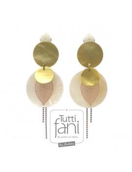 Boucles d'oreilles clips sequins en nacre doré et naturel
