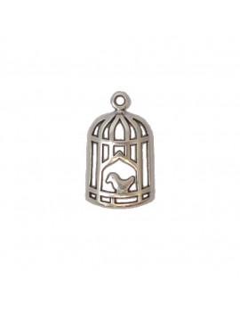 Cage à oiseaux argent vieilli 14x25 mm