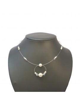 Collier anneau perles fines et cristal