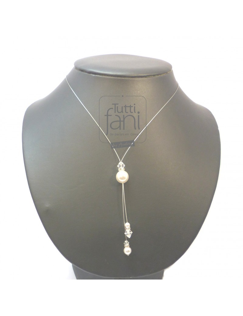 Collier tombants perles fines et cristal
