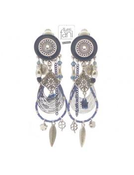 Boucles d'oreilles clips à breloques bleu marine
