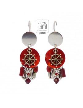 Boucles d'oreilles à breloques thème marin rouge et argenté