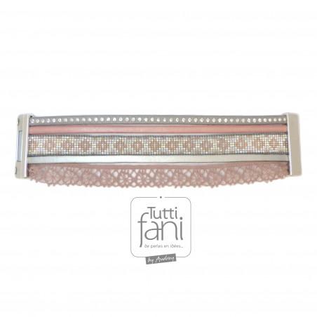Bracelet manchette dentelle rose et gris