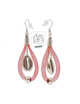 Boucles d'oreilles tubulaire rouge et coquillage