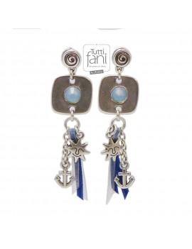 Boucles d'oreilles à breloques thème marin bleu