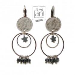 Boucles d'oreilles anneaux et perles grises
