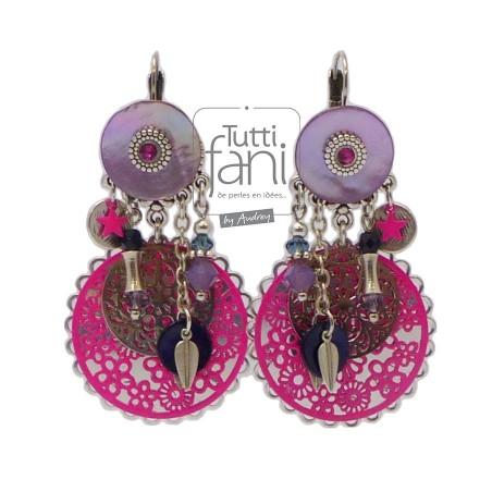 Boucles d'oreilles colorées rose et violet