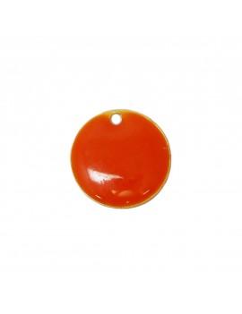 Sequin émaillé orange 15 mm