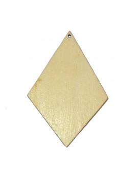 Pendentif losange en bois bleu vert 50x75 mm
