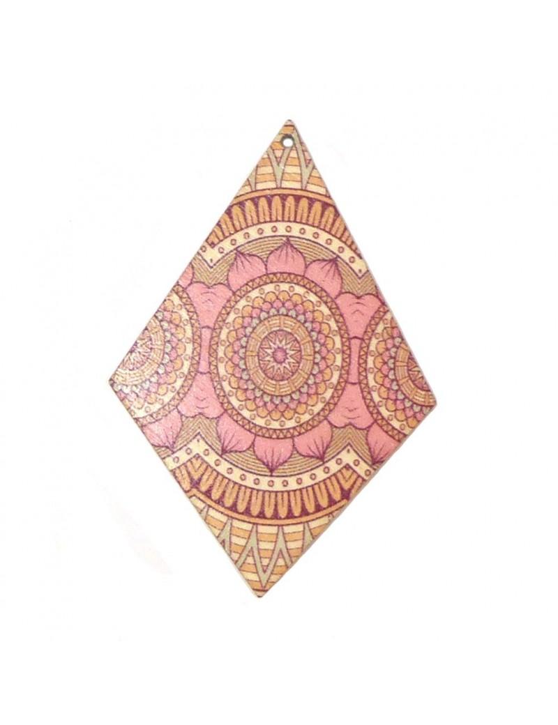 Pendentif losange en bois rose 50x75 mm