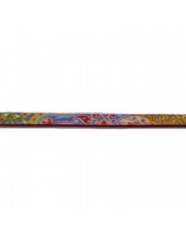 Cuir plat naturel à motifs colorés 5 mm - 10 cm
