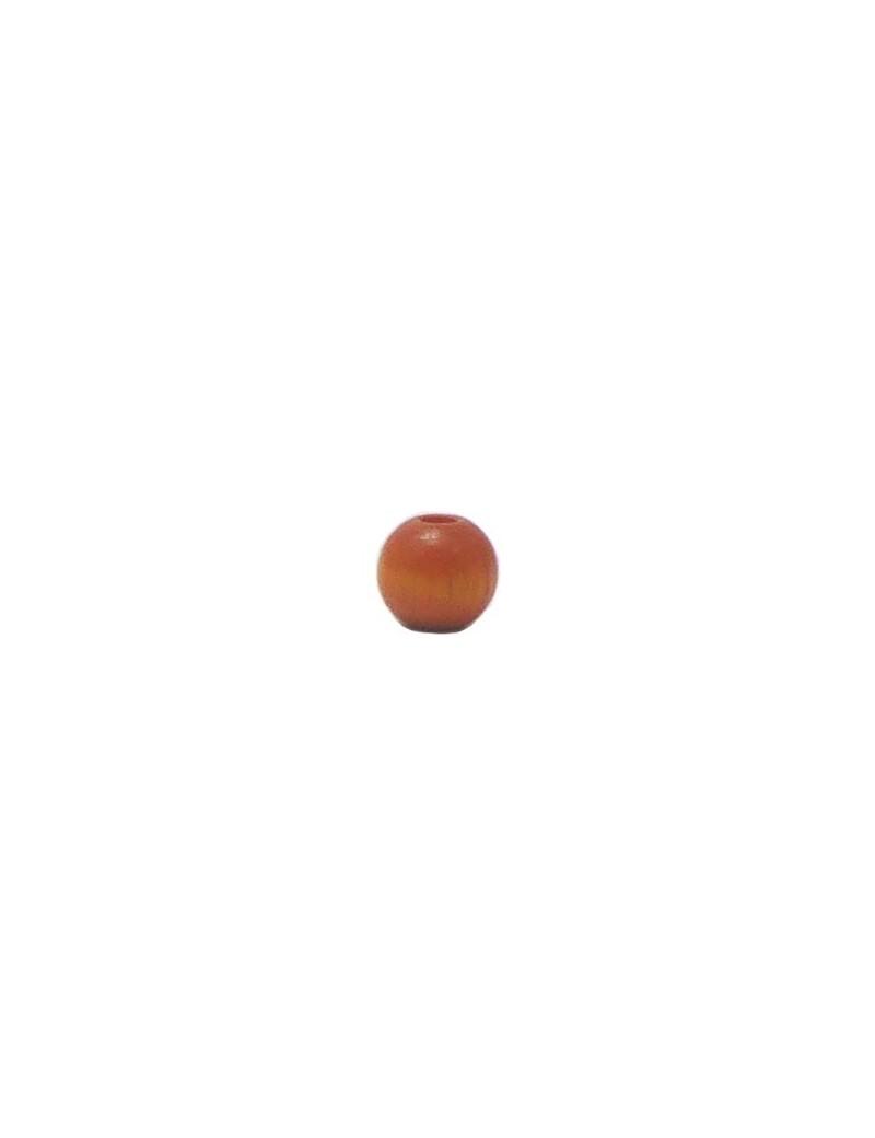 Perle en bois teinté et vernis orange 6 mm