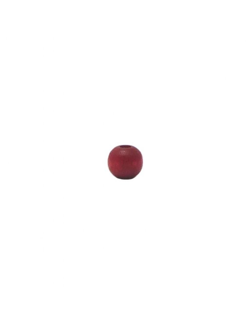 Perle en bois teinté et vernis rouge 6 mm