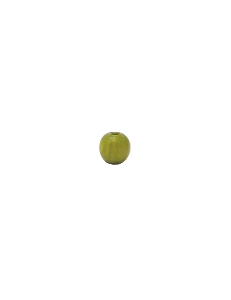 Perle en bois teinté et vernis vert 6 mm