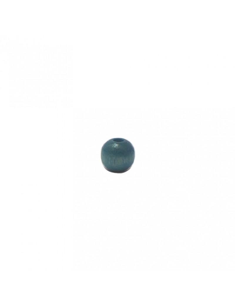 Perle en bois teinté et vernis turquoise 6 mm