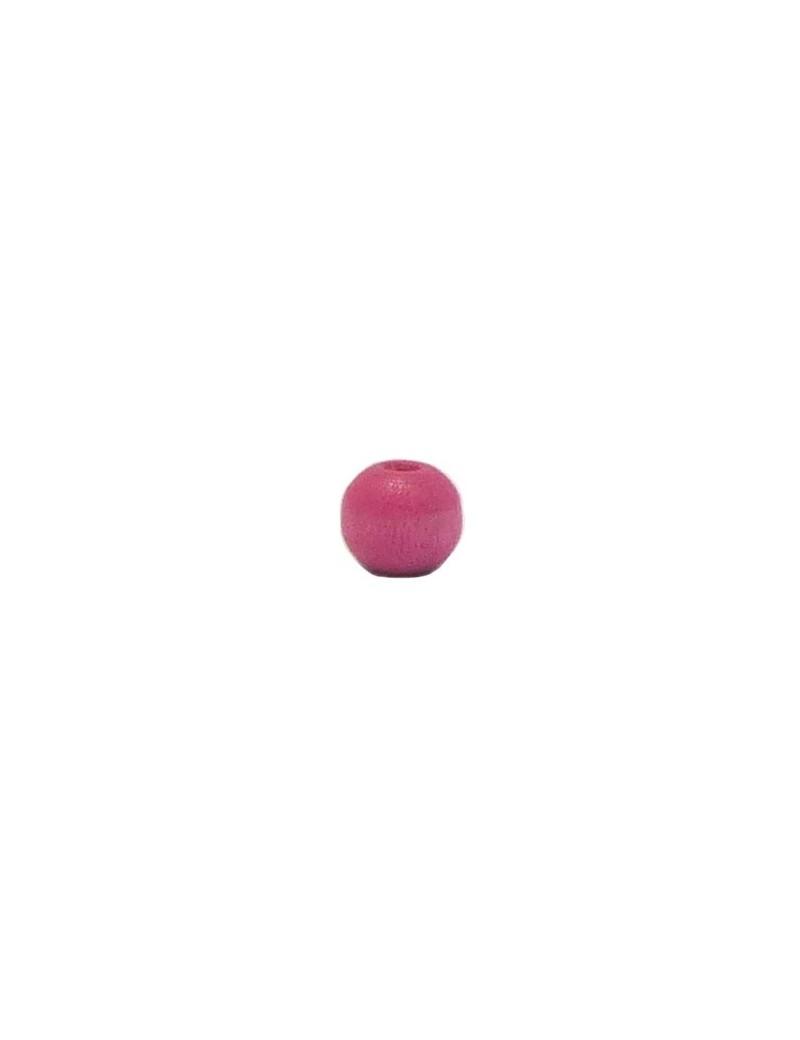 Perle en bois teinté et vernis fuchsia 6 mm
