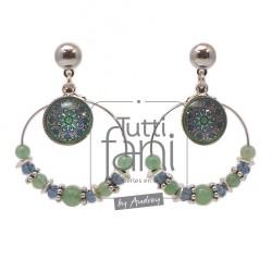 Boucles d'oreilles anneaux et cabochons bleu-vert