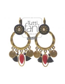 Boucles d'oreilles à breloques bronze pompons noirs