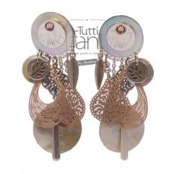 Boucles d'oreilles clips à breloques rose et nacre