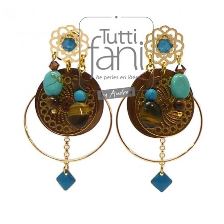 Boucles d'oreilles à breloques turquoise, marron et doré
