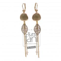 Boucles d'oreilles pendentifs en verre et chaines dorées