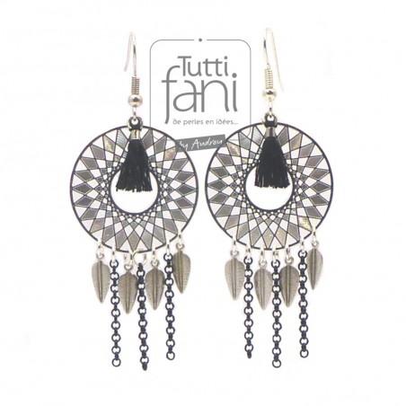 Boucles d'oreilles estampes, plumes et chaines