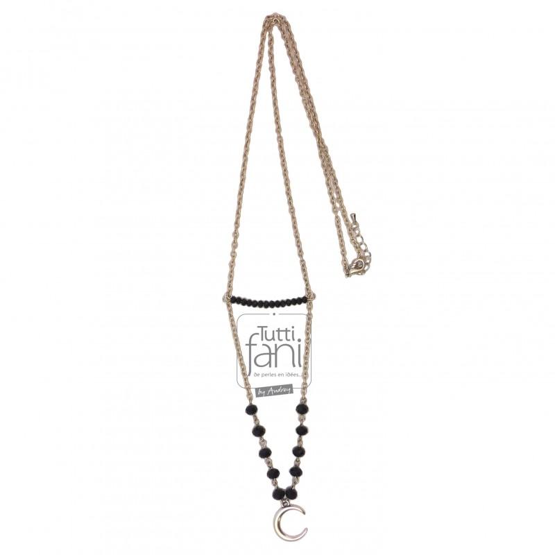 Sautoir chaine, perles noires et lune