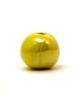 Perle céramique émaillée 22 mm jaune