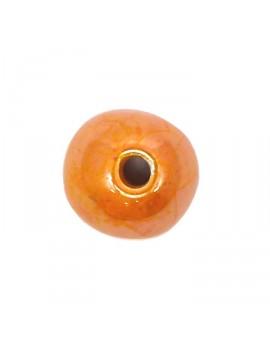 Perle céramique émaillée 22 mm orange