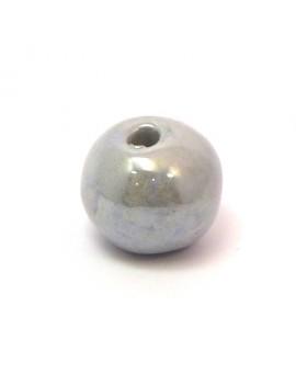 Perle céramique émaillée 22 mm gris clair