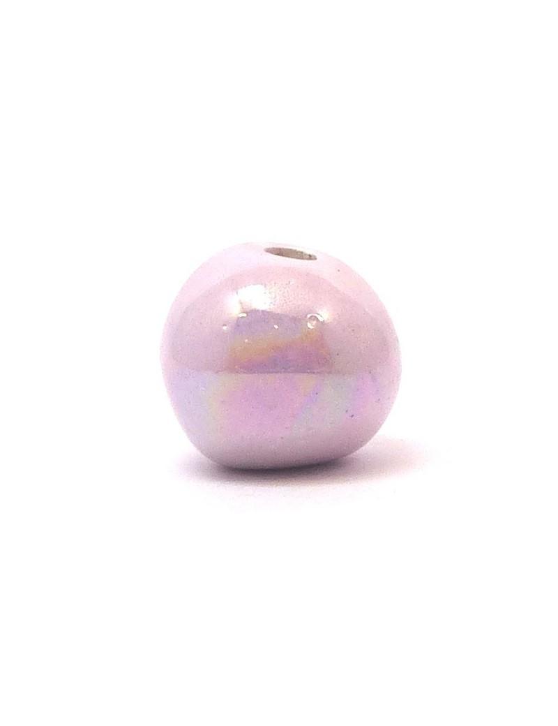 Perle céramique émaillée 22 mm parme