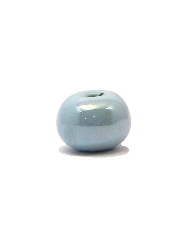 Perle céramique émaillée 16 mm bleu glacier