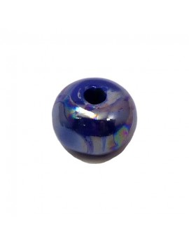 Perle céramique émaillée 16 mm bleu électrique