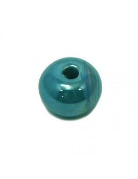 Perle céramique émaillée 16 mm bleu turquoise