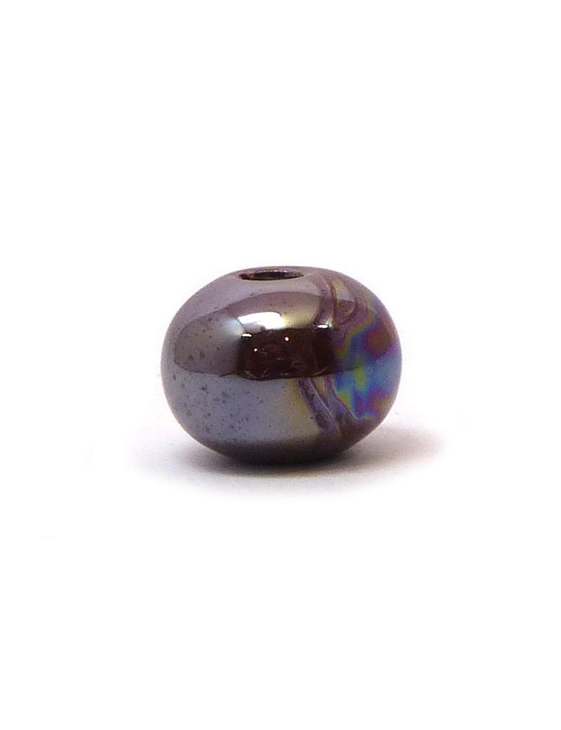 Perle céramique émaillée 16 mm marron glacé