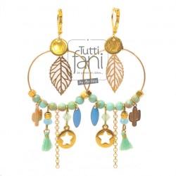 Boucles d'oreilles anneaux et breloques doré-vert d'eau