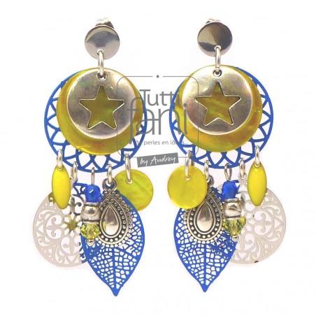 Boucles d'oreilles à breloques et estampes jaune-bleu électrique