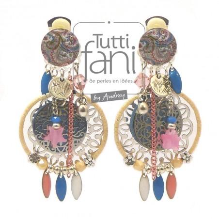 Boucles d'oreilles clips à breloques couleurs pastel