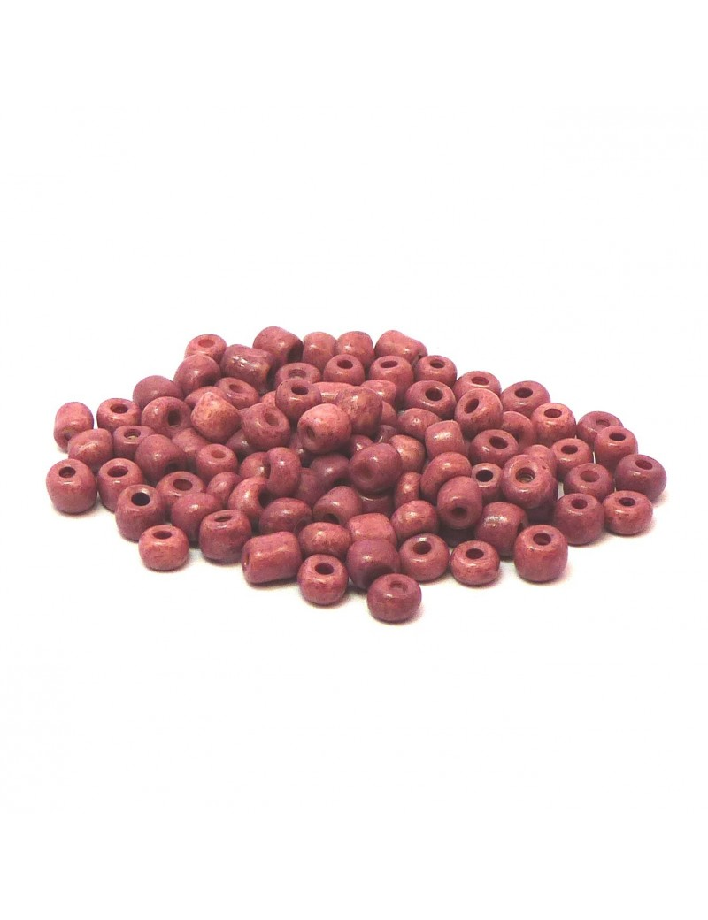 Rocailles 6/0 - 4 mm vieux rose mat - 15grs