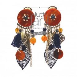 Boucles d'oreilles clips à breloques bleu marine et orange