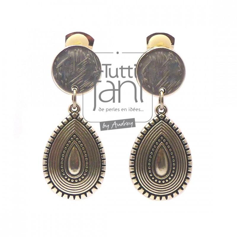 Boucles d'oreilles clips pendentif en métal argenté