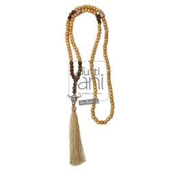 Sautoir perles bois, unakite et pompon beige